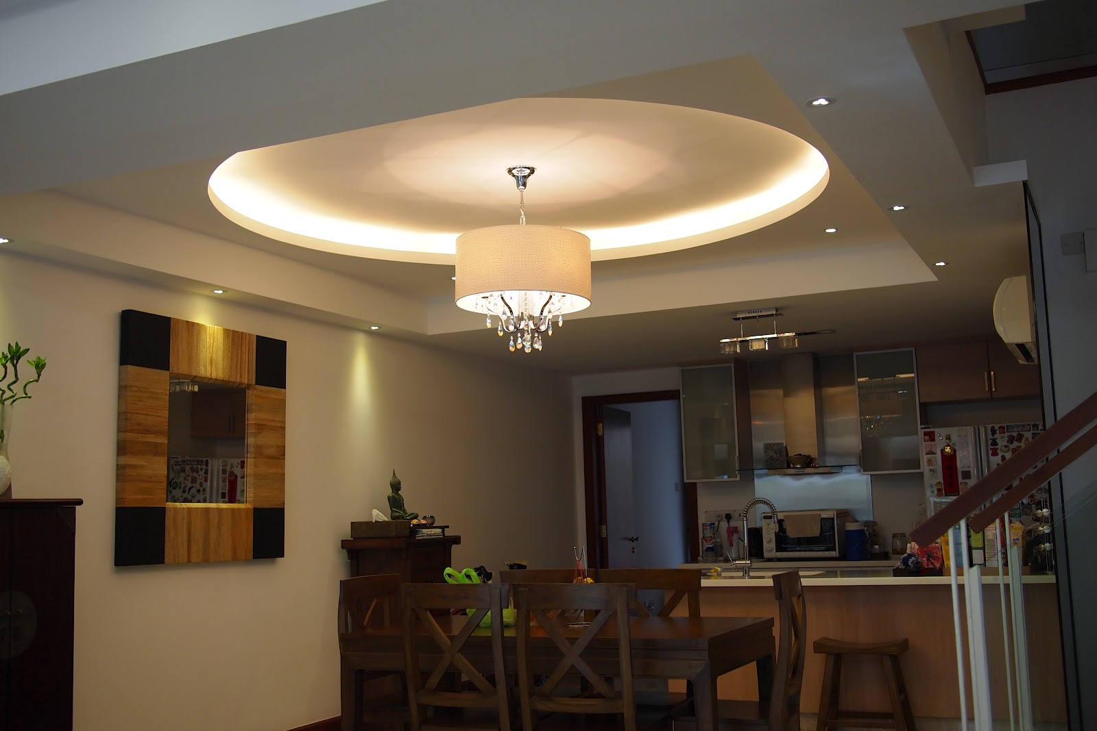 Round cove lighting at dining area with LED at perimeter title=
