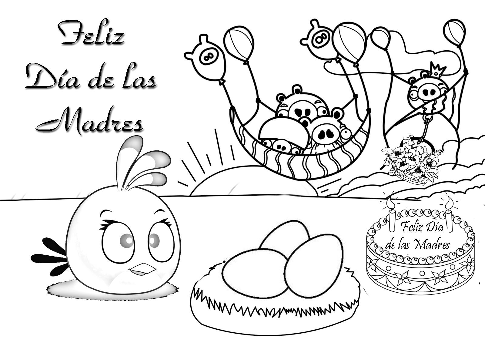 Día de las madres Angry Birds para colorear