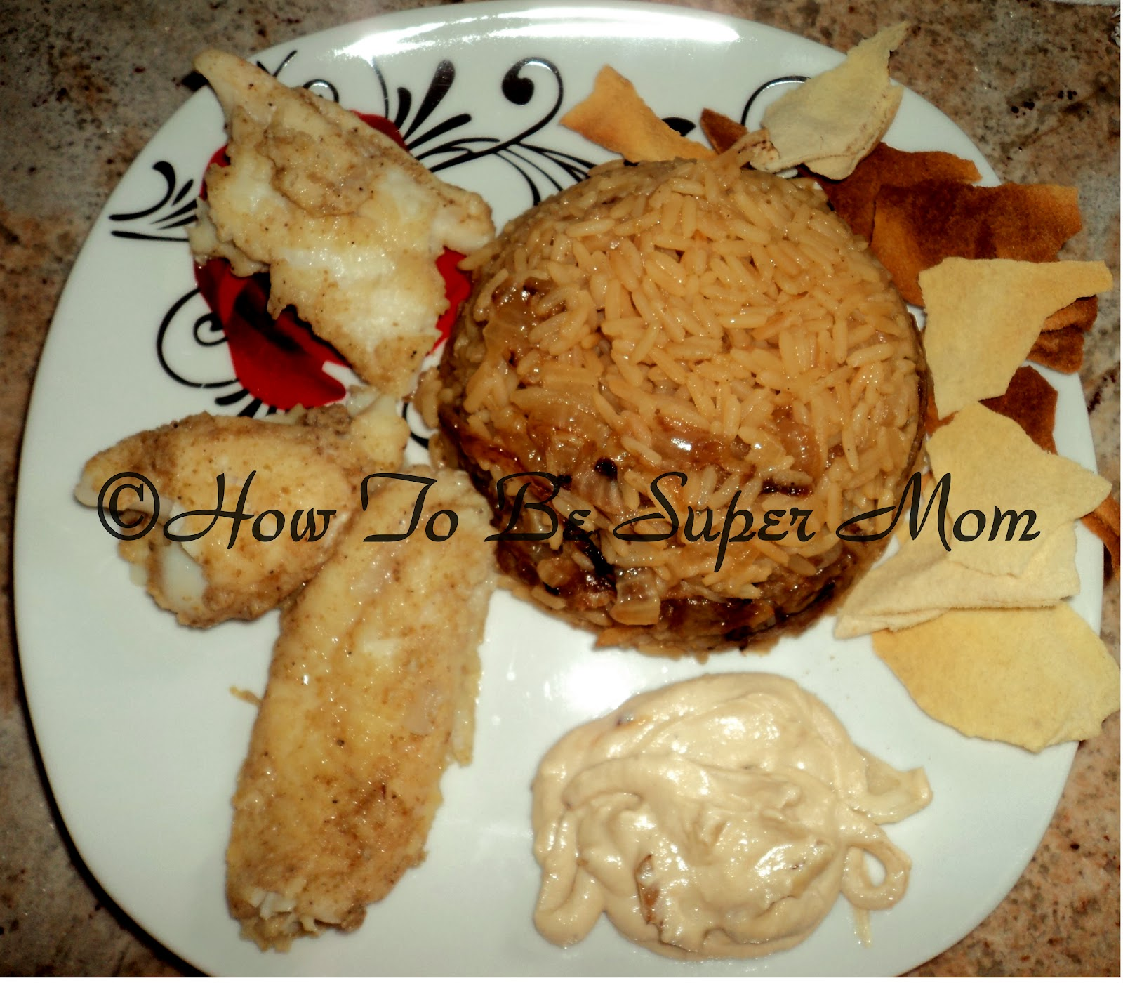 Family crafts and recipes lebanese fish rice syadyeh for Fish and rice recipes