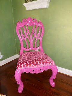 hot pink and leopard chair