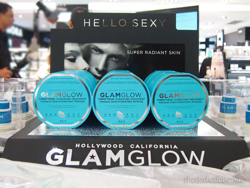 GlamGlow Thirstymud display at Sephora