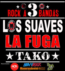 Los Suaves, La Fuga y Tako con Rock a Tres Bandas en marzo