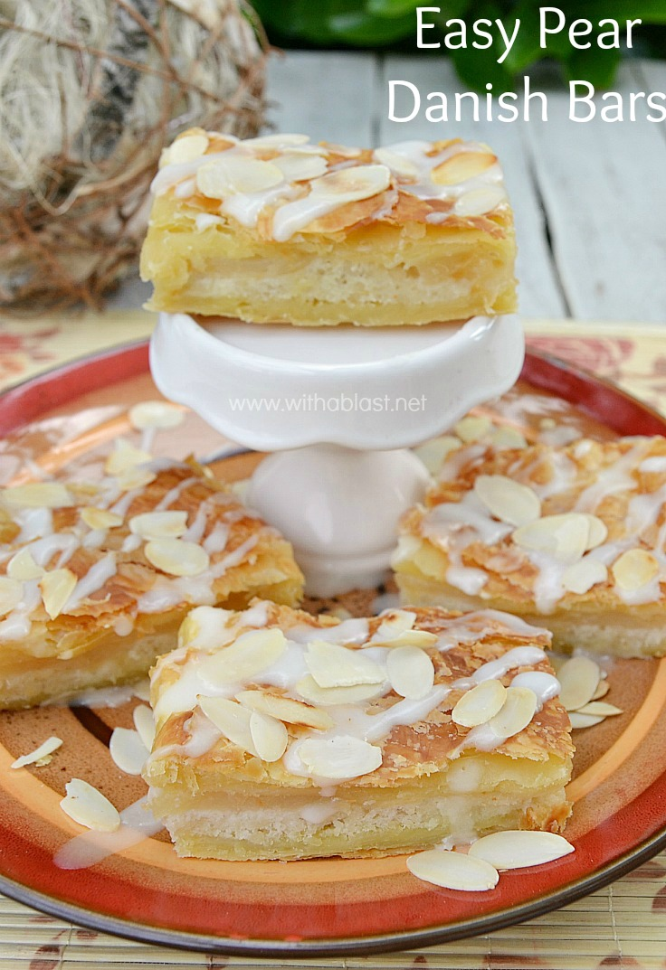 Easy Pear Danish Bars ~ Quick, easy Pear Danish Bars which will steal the show at any party or family gathering ! Flaky pastry with a divine, yet simple, filling www.withablast.net