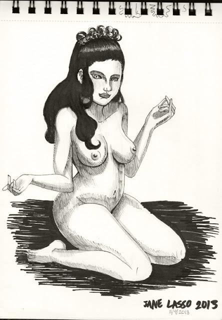 Dibujo artistico femenino con marcadores negros