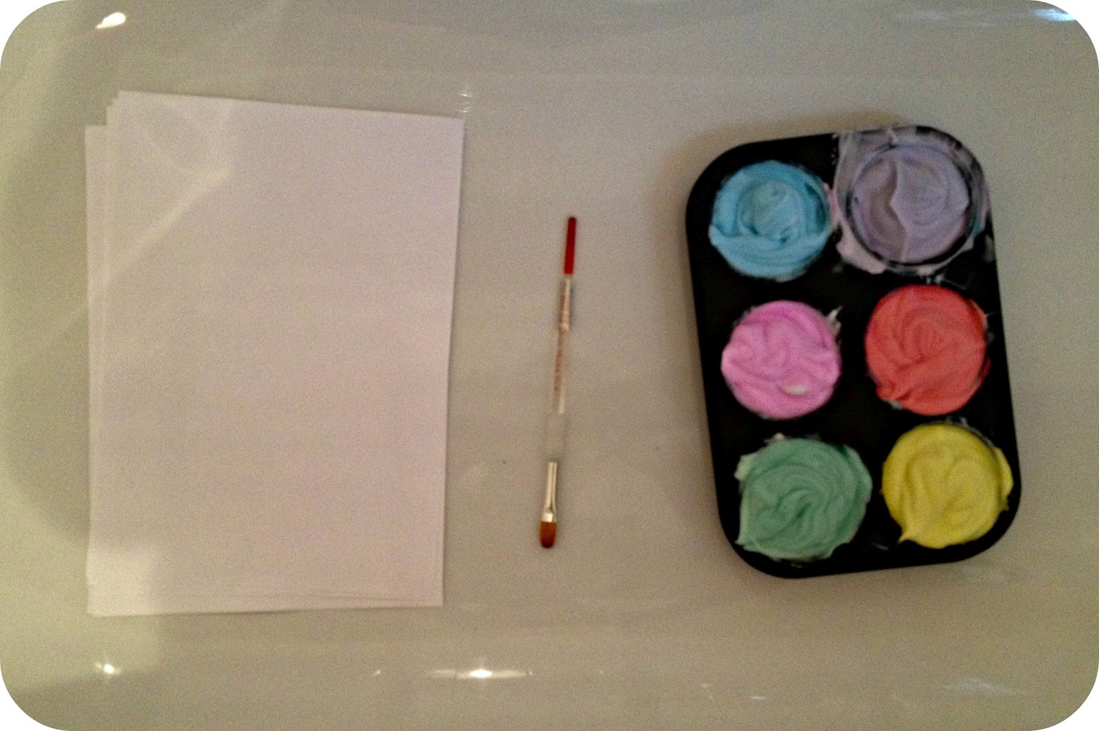 Transatlantic blonde messy play shaving cream painting for Shaving cream paint