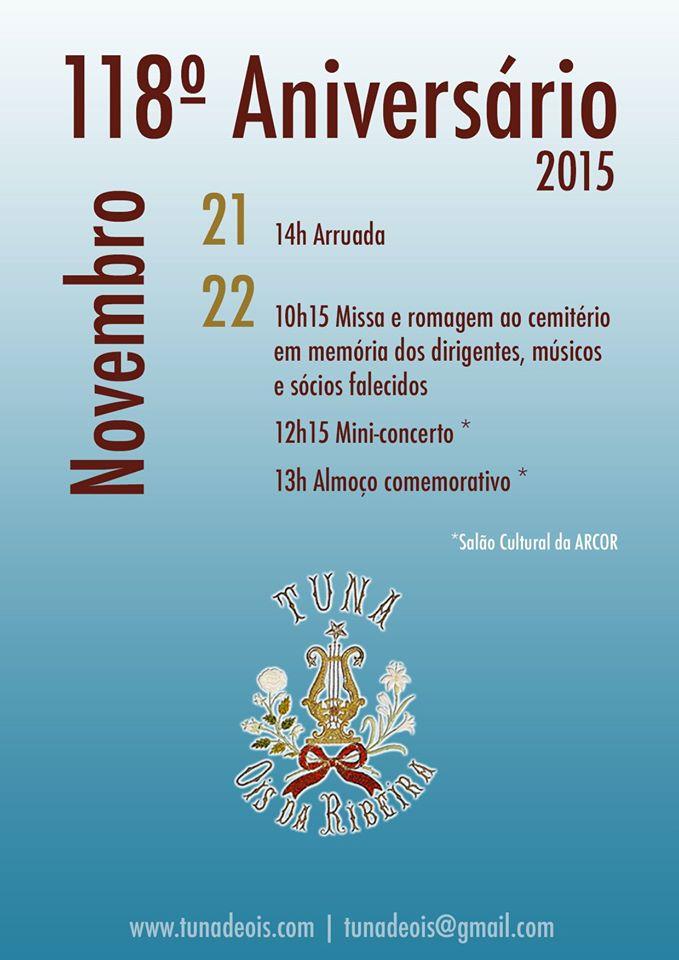 PROGRAMA OFICIAL DO ANIVERSÁRIO DA TUNA MUSICAL DE ÓIS DA RIBEIRA