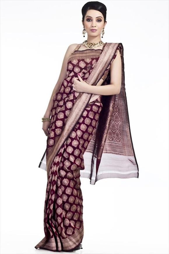 Rosewood Georgette Banarasi Saree