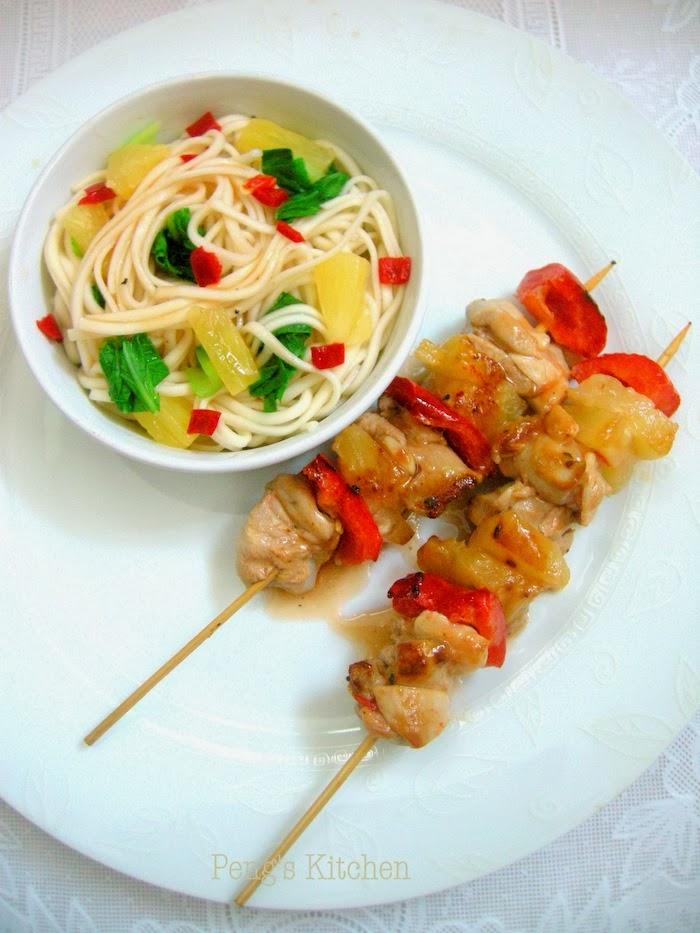 Pengs Kitchen Fruity Chicken Skewers Noodles