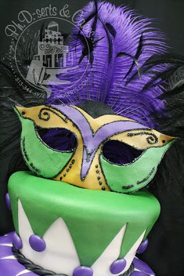 50th masquerade birthday cake mardis gras green purple white black gold