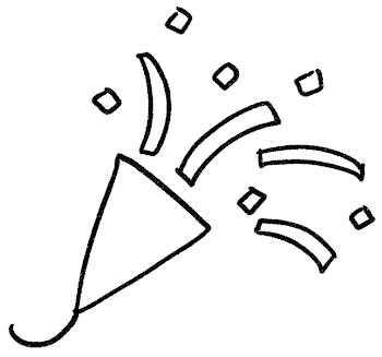 クラッカーのイラスト(パーティ) 白黒線画