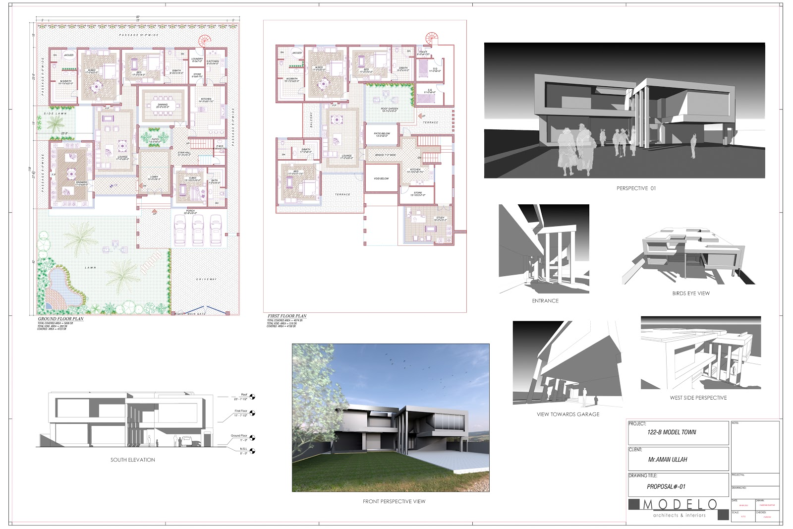 My design work 2 kanal residence proposal plan and elevation for One kanal house plan