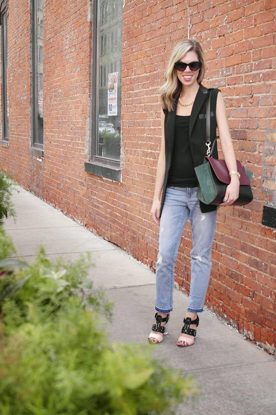 Vest, Boyfriend Jeans, Heels