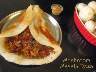 Mushroom Masala Dosa