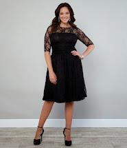Plus Size Black Lace Cocktail Dresses
