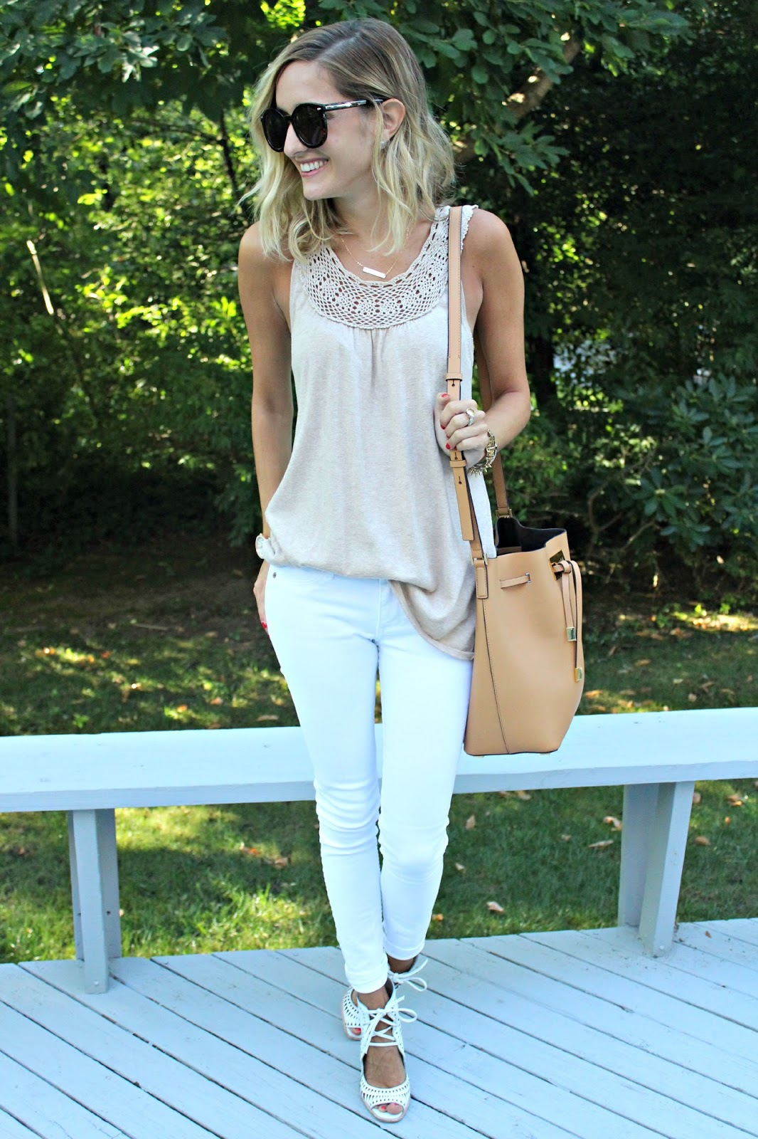 neutral colored casual outfit