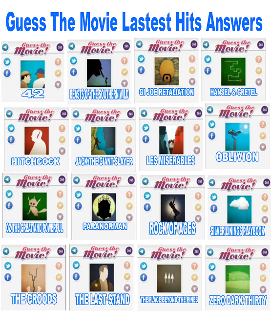 Guess The Movie Latest Hits answers