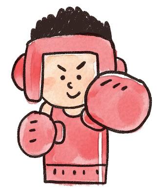 ヘッドギアをつけたボクサーのイラスト(スポーツ)