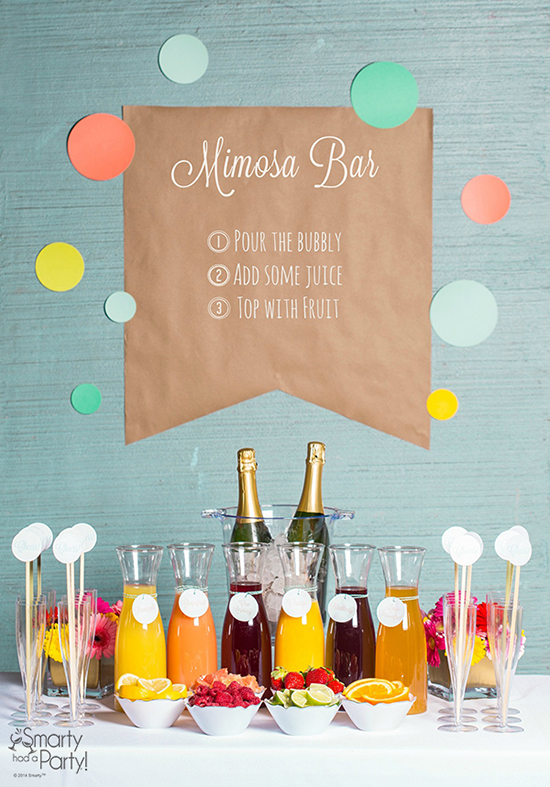 brunch wedding / mimosa bar.