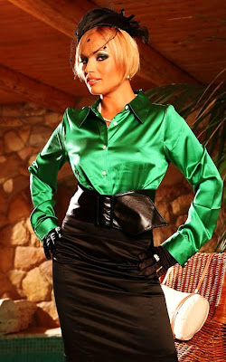 Green Silk Satin Blouses