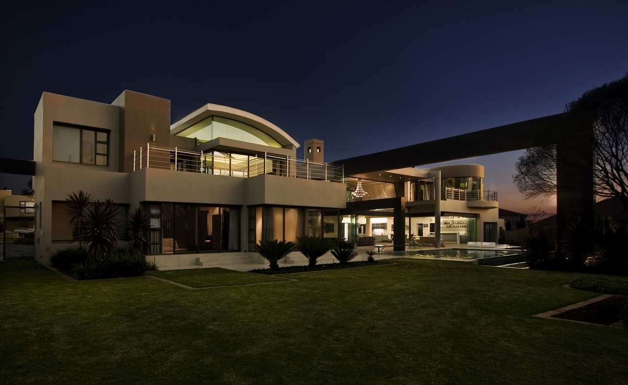 modern home at the sunset