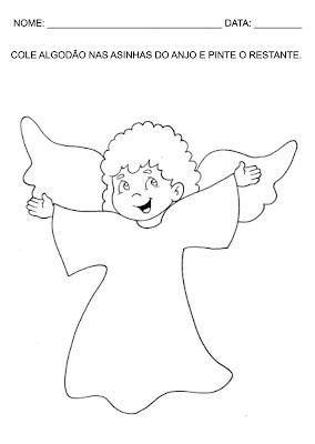 Atividades para Educação Infantil - Pinte o Anjo