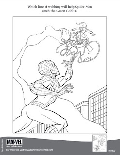 Page three of the Marvel press Activity Pages featuring Spider-Man and the Green Goblin