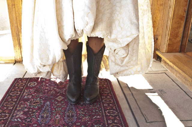 Vintage Rustic Farm Wedding Catskills cowboy boots as bridal shoes