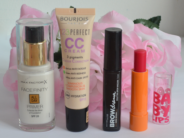 Daily make up essentials, Maxfactor facefinity primer, Bourjois cc cream, Maybelline brow drama, Maybelline baby lips in cherry me