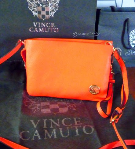 Vince Camuto Cami Cross Body handbag in Fiery Coral purse wrislet