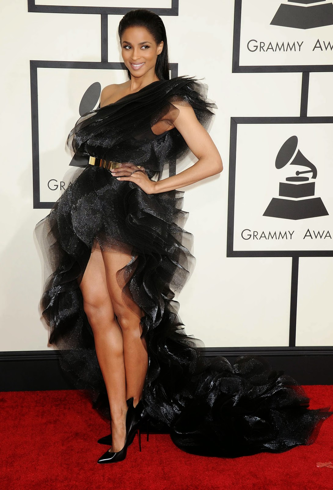 Ciara wears a dramatic Alexandre Vauthier Couture gown to the 2015 Grammy Awards in LA