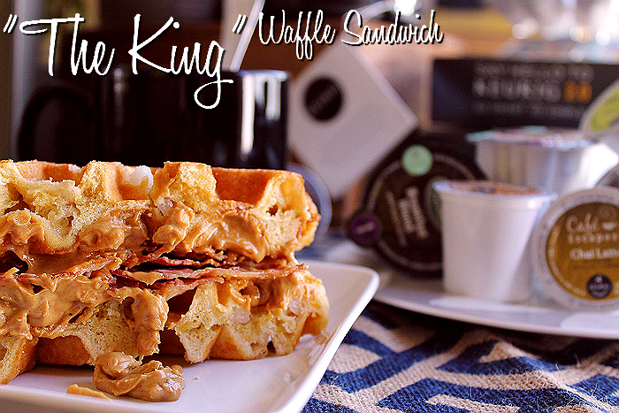 "A cup of coffee and ""The King"" Peanut Butter, Banana, Bacon Waffle Sandwich= Heaven!"