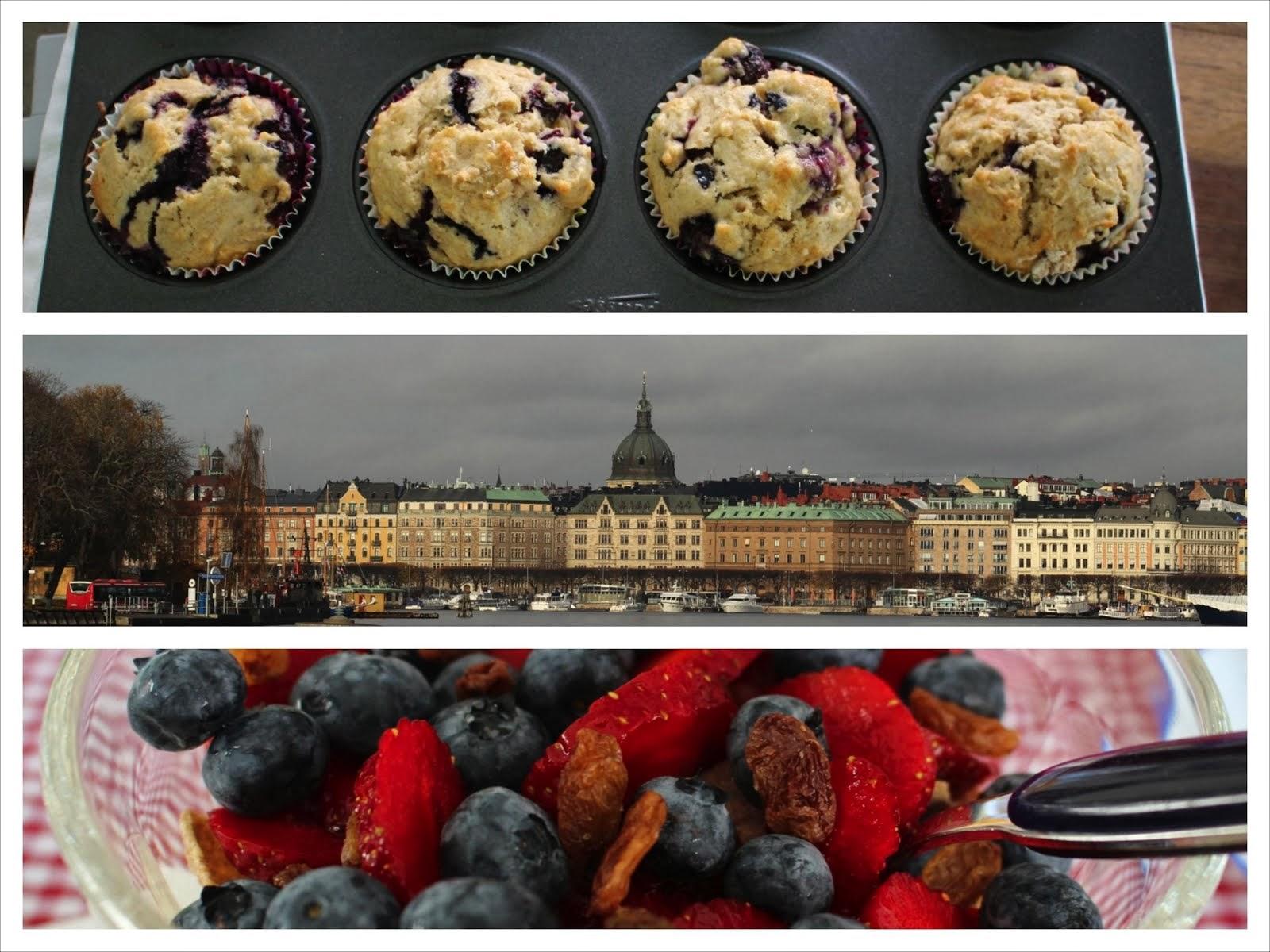 muesli, Stockholm och blåbärmuffin