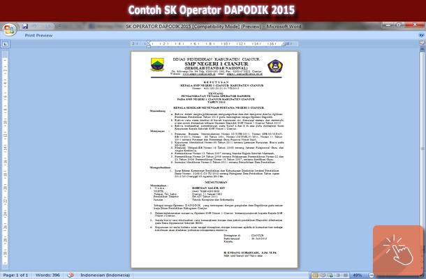 Contoh Format SK Operator DAPODIK 2015