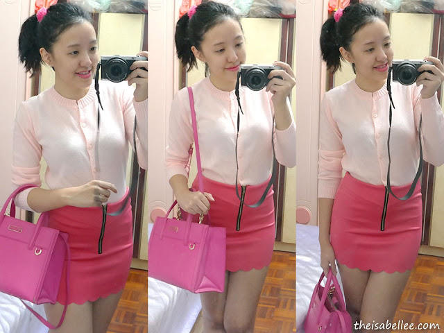 Cute pink OOTD with cardigan and scallop skirt