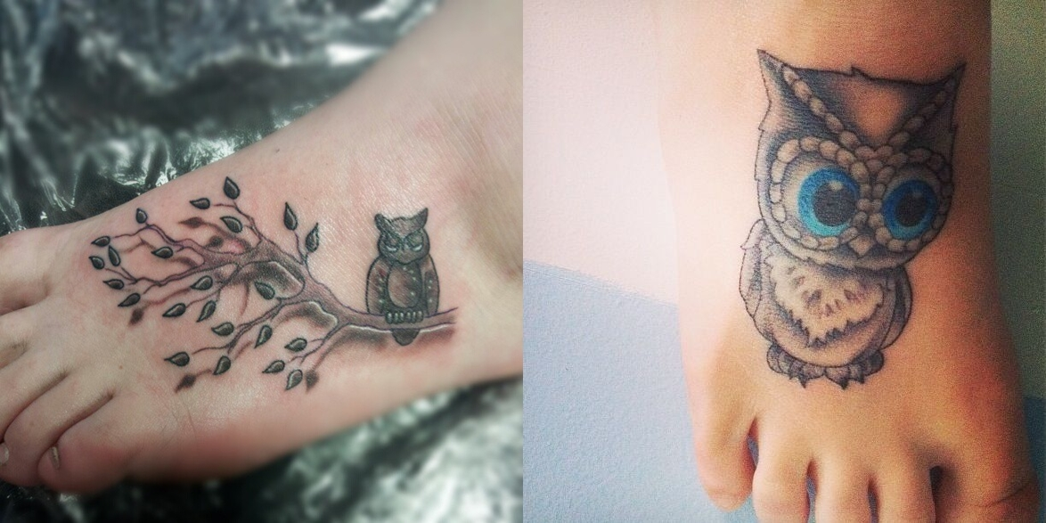 Cute owl tattoos on foot - photo#4