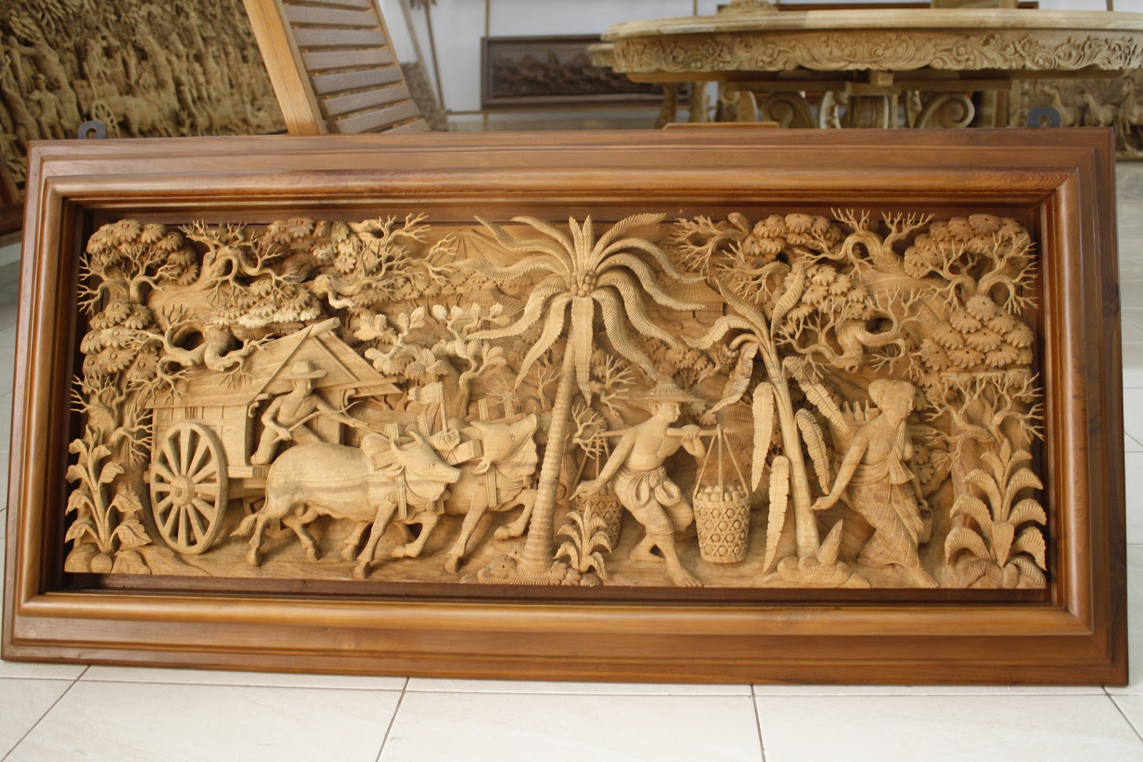 Jepara carving relief tns furniture