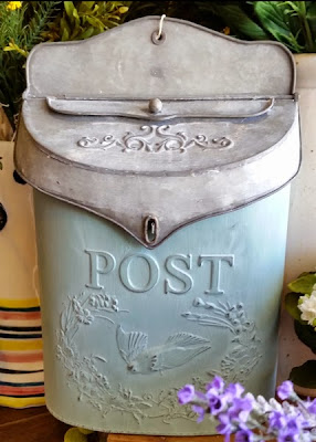 Galvanized Post Box in Light French Blue