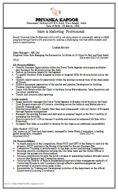 Free Download Link Sale \u0026 Marketing Resume S&le Doc
