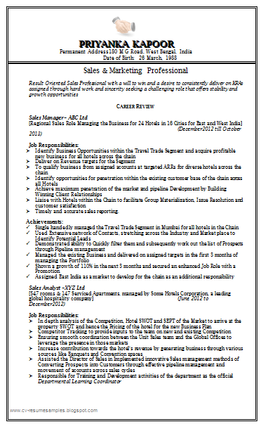 Superbe Free Download Link Sale U0026 Marketing Resume Sample Doc