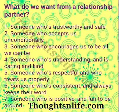 What do we want from a relationship partner ?