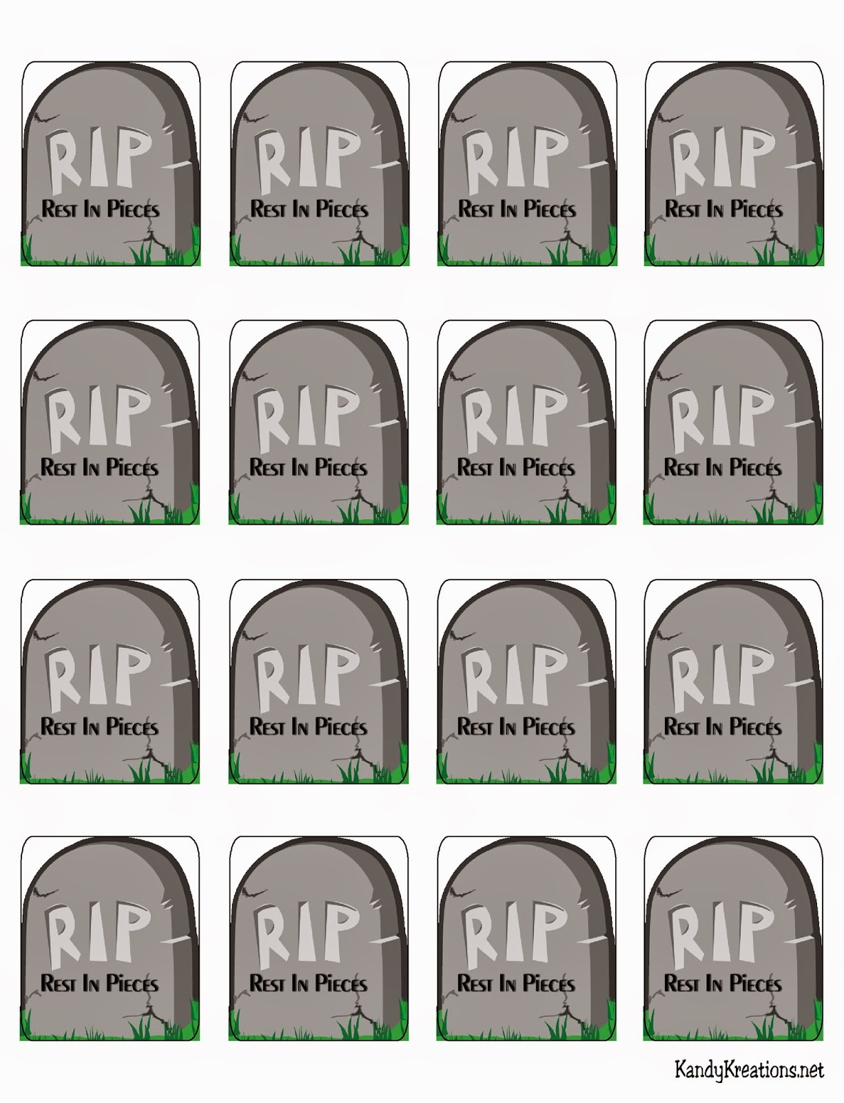 Halloween Tombstone Rest in Pieces Free Printable | Everyday Parties