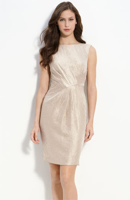 Adrianna Papell Beaded Metallic Satin Sheath Dress