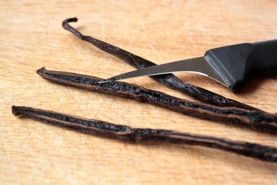vanilla beans cut for DIY homemade vanilla extract