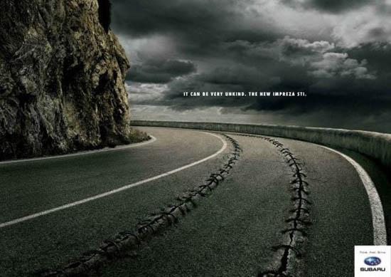 anúncios minimalistas e criativos na internet - Subaru