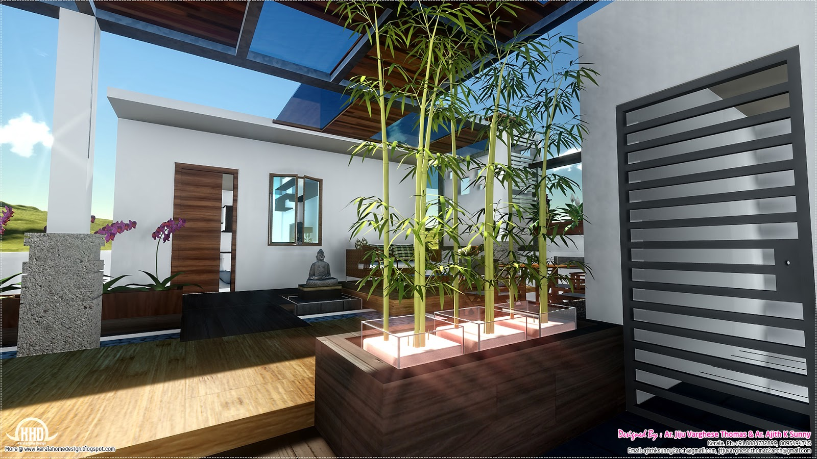 Contemporary style home landscape design in 800 kerala home design and floor plans - Designer for home ...