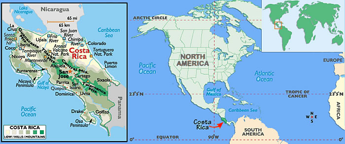 World Map Of Costa Rica Travelling World