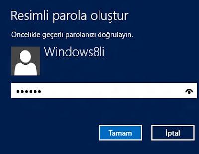 Windows 8 Geçerli Şifre