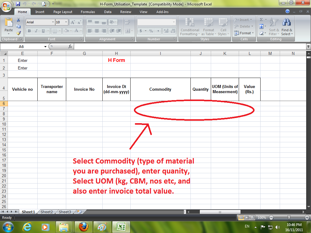 how to fill the c form utilisation excel file dowload from ap >after enter the all date in the excel sheet save this file in your computer to upload