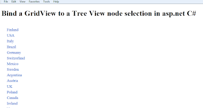 Bind a GridView to a Tree View node selection in asp.net C#