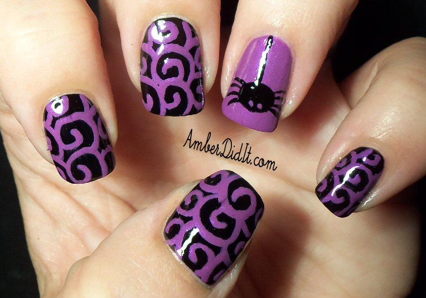 Halloween Spider Nail Design - Amber Did It!: Halloween Spider Nail Design